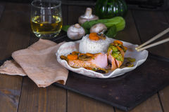 Chinese style salmon Royalty Free Stock Images