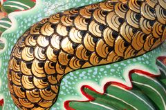 Chinese style scale of dragon on wall of shrine Stock Photo