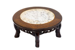 Chinese style short antique round table marble top and 5 legs ha Stock Photo