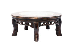 Chinese style short antique round table marble top and 5 legs ha Royalty Free Stock Images