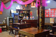 Chinese style small restaurant with red ribbon Royalty Free Stock Photo