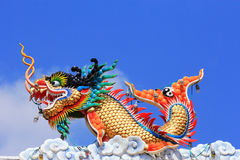 Chinese style statue art. On  the roof  in Chinese  temple Royalty Free Stock Photo