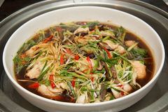 Chinese Style Steamed Fish In Soy Sauce Stock Photography