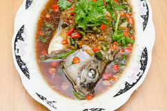 Chinese style steamed fish Stock Photo