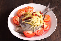 Chinese style steamed fish Royalty Free Stock Images