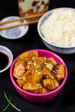 Chinese style sweet and sour chicken with sesame seeds Royalty Free Stock Photography