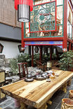 Chinese-style teahouse. Here is the teahouse of Chinese style, the environment is very graceful, people usually and enjoy the tea art performance in this drink Royalty Free Stock Photography
