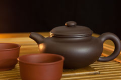 Chinese style teapot and teacup Stock Photo
