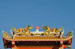 Chinese style temple's roof with dragons. Stock Photography