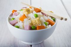 Chinese style three delights rice Royalty Free Stock Image