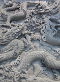 Chinese style two dragon statue Stock Image