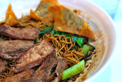 Chinese style vegetarian pork noodles Royalty Free Stock Image
