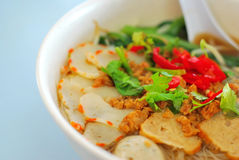 Chinese style vegetarian prawn noodles Stock Photography