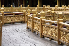 Chinese style walkway. Chinese style curve walkway with golden handrail Stock Photos