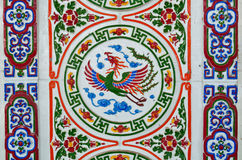 Chinese style wall tiles. Old vintage chinese style wall tiles in the temple Stock Photo