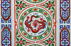 Chinese style wall tiles. Old vintage chinese style wall tiles in the temple Stock Photography