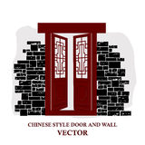 Chinese style window tracery pattern door and wall. Stock Photos