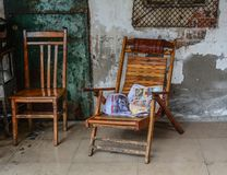 Chinese-style wooden chairs royalty free stock image