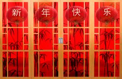 Chinese style wooden door, red background. royalty free illustration