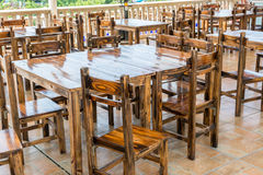Chinese style wooden tables and Chair at the restaurant or pub Royalty Free Stock Photo