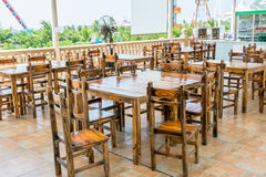 Chinese style wooden tables and Chair at the restaurant or pub Stock Image