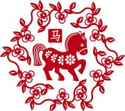 Chinese styled horse as symbol of year of 2014. Red isolated on white Royalty Free Stock Photos