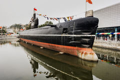 Chinese submarine. The submarine or submersible boat submarine is able to run on underwater ships. A large submarine is mostly cylindrical, midship usually set Stock Image