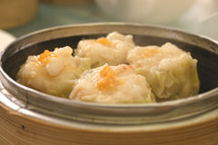 Chinese Sui Mai in Bamboo Steamer. Chinese Steamed Dumplings royalty free stock photos