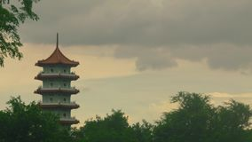 Chinese sunset tower stock video footage