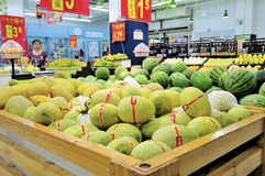 Chinese supermarket. Shopping at the chinese supermarket,because of inflation, the supermarket's soaring commodity prices, very few people to buy goods.this Royalty Free Stock Images
