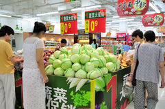 Chinese supermarket. Shopping at the chinese supermarket,because of inflation, the supermarket's soaring commodity prices, very few people to buy goods.this Stock Photo