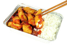Chinese Sweet And Sour Battered Chicken And Rice Royalty Free Stock Image