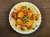 Chinese Sweet and Sour Chicken. With Egg Fried Rice Meal Royalty Free Stock Photography