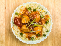 Chinese Sweet and Sour Chicken. With Egg Fried Rice Meal Royalty Free Stock Image
