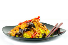 Chinese sweet and sour chicken with rice Stock Photo