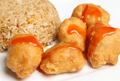 Chinese Sweet & Sour Pork Food. Chinese sweet & sour pork balls with egg fried rice Royalty Free Stock Images