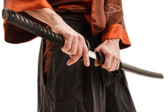 Chinese sword in scabbard close up shot in studio Royalty Free Stock Photos