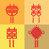 Chinese symbol of double happiness and marriage Stock Image