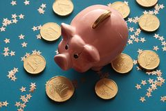 The Golden Pig New Year.Traditional chinese symbol piggy bank royalty free stock photo