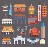 Chinese Symbolische Oriëntatiepunteninzameling Royalty-vrije Stock Afbeelding