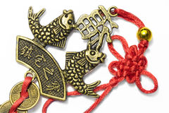 Chinese Symbolische vissen met uitstekende muntstukken 1 Royalty-vrije Stock Foto's