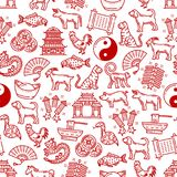 Chinese symbols seamless vector pattern. Chinese symbols pattern background of traditional celebration and lunar zodiac animal signs. Vector seamless Chinese New stock illustration