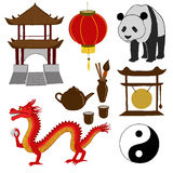 Chinese Symbols. Vector illustration. China travel. Asian traditional culture symbols. Set of isolated objects on a white background royalty free illustration