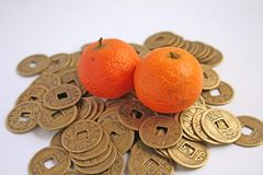 Chinese Symbols of Wealth. Popular chinese symbols of wealth: mandarins and coins royalty free stock images