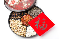 Chinese sytle snack tray and chinese calligraphy, meaning for bl Royalty Free Stock Photos