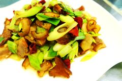 Chinese Szechuan style stir fry meat & leek Stock Photo