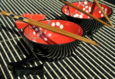 Chinese tableware. Image of some chinese tableware and chopsticks Royalty Free Stock Photos
