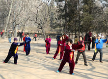 Chinese Taiji. People doing Taiji in xigu park Tianjin China photoed on March 9th 2014 Royalty Free Stock Photography