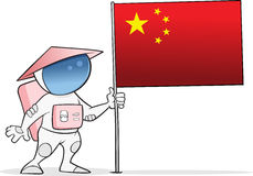 Chinese Taikonaut With China Flag Royalty Free Stock Image