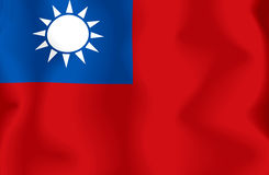 Chinese Taipei. Flag of the Republic of China, computer generated illustration with silky appearance and waves Vector Illustration